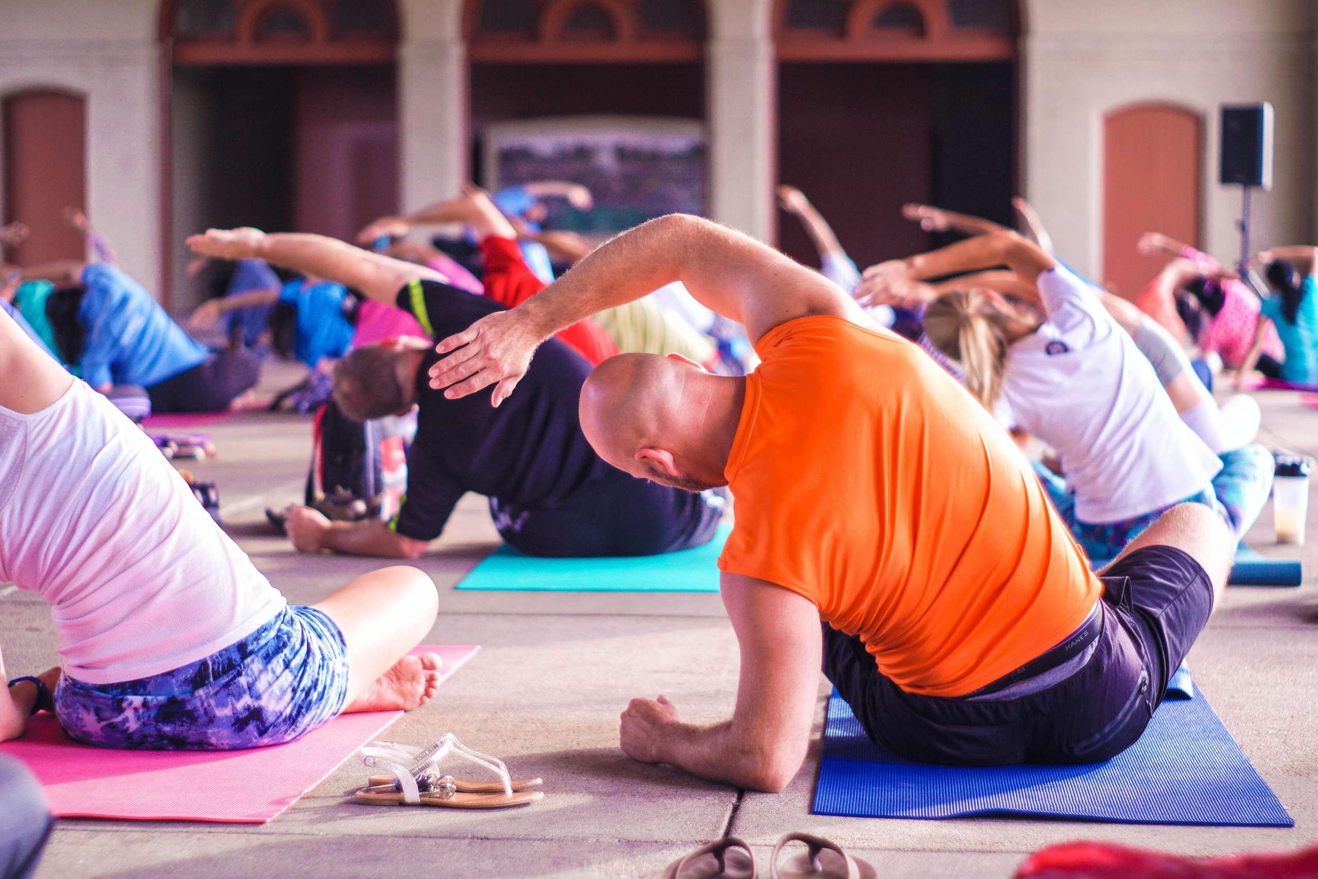 Photo of an inclusive yoga class