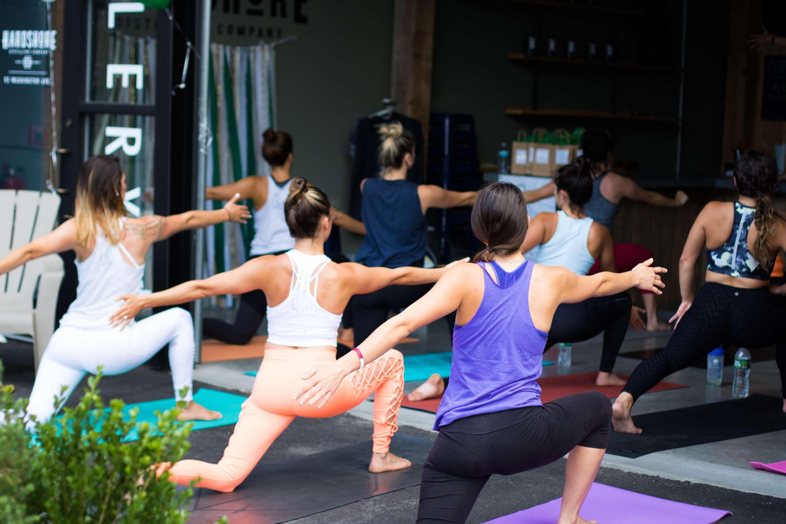 Photo of diverse yoga class